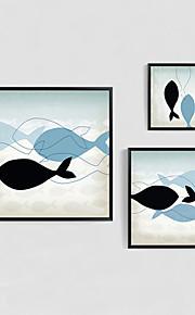 Maalattu Abstrakti / Eläin / Sarjakuva öljymaalauksia,Moderni 3 paneeli Kanvas Hang-Painted öljymaalaus For Kodinsisustus