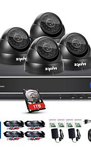 sannce® 4ch 720p dvr vigilância system1280 * 720p outdoor câmeras de segurança máxima ir distância (30m) built-in HDD de 1TB