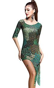 Latin Dance Dresses Women's Training Rayon / Tulle Pattern/Print 3 Pieces Green Latin Dance Half Sleeve Natural