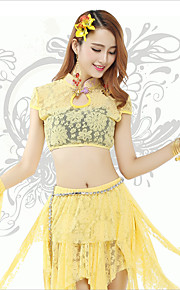 Belly Dance Tops Women's Training Lace Lace 1 Piece Yellow Belly Dance Short Sleeve Natural Top