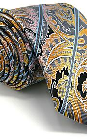 Men's Yellow Paisley Necktie Tie 100% Silk Business Dress Casual Long