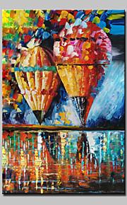 Hånd-malede Abstrakt / Landskab / Abstrakt Landskab Oliemalerier,Moderne Et Panel Canvas Hang-Painted Oliemaleri For Hjem Dekoration