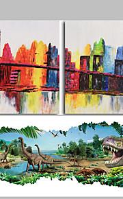 Dipinta a mano Astratto / Paesaggi / Paesaggi astratti Dipinti ad olio,Modern Due Pannelli Tela Hang-Dipinto ad olio For Decorazioni per