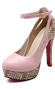 Women's Heels Summer / Fall Heels / Round Toe PU Office & Career / Casual Chunky Heel Buckle Black / Pink / Beige Others