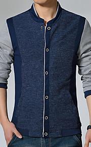 남성의 자켓 퓨어 긴 소매 캐쥬얼 면,블루 / 그레이
