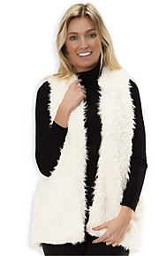 Women's Plus Size / Party/Cocktail Sexy / Simple Fur Coat,Solid V Neck Sleeveless Fall / Winter White / Beige / Gray