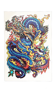 1pc Lucky Blue Dragon Flower Arm Sleeve Waterproof Temporary for Women Men Body Art Tattoo Sticker HB-045