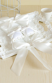 Luxury White Tray with Lace Flower Jute Decoration Double Ring Pillow for Wedding Party(39*26cm)
