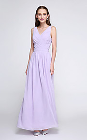 Lanting Bride Ankle-length Chiffon Bridesmaid Dress - Elegant Sheath / Column V-neck with Criss Cross