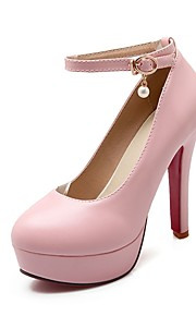 Women's Heels Summer / Fall Heels / Round Toe PU Office & Career / Casual Cone Heel Buckle Black / Pink / Beige Others