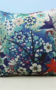 """Country Style Linen Pillow Case 17"""" by 17"""" Floral Pattern"""