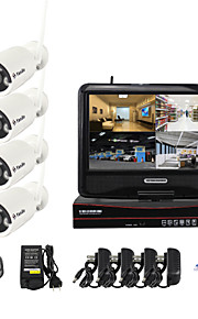 yanse® 10-inch scherm 1.3MP pnp draadloze nvr kit ir nachtzicht beveiliging ip camera wifi CCTV-systeem (4 stuks / hdmi / 960p / p2p)
