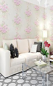 European Pastoral Blue Pink Rose Wallpaper For Walls 3 D Embossed Flower Wall Paper Rolls For Bedroom Living Room
