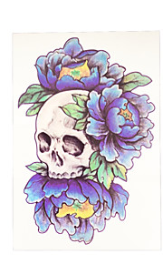 1pc Temporary Women Men Fake Health Body Art Tattoo Blue Skull Flower Arm Sleeve Tattoo Sticker HB-050