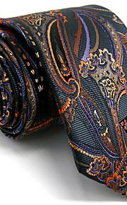Men's Paisley Dark Gray Tie 100% Silk Business Dress Casual Long