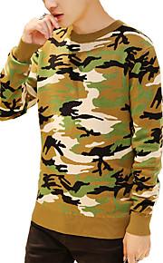 Jersey De los hombres Estampado Casual-Algodón-Manga Larga-Verde