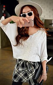 Damen Solide Einfach / Niedlich / Anspruchsvoll Arbeit / Urlaub / Ausgehen Hemd,V-Ausschnitt Frühling / Herbst ¾-Arm Weiß Polyester Mittel