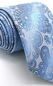 Men's Light Blue Paisley Tie 100% Silk Business Necktie Dress Casual Long