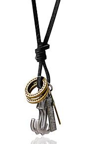 Collier Pendentif de collier Bijoux Noir / Argent Alliage / Cuir Quotidien / Décontracté 1pc Cadeau