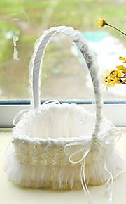 White Heart Shape Lace Decoration Flower Basket for Wedding Party(17*24cm)