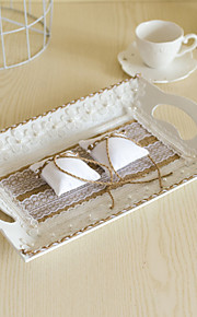 White Tray with Lace Flower Jute Decoration Double Ring Pillow for Wedding Party(39*26cm)