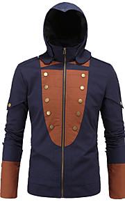 남성의 자켓 패치 워크 긴 소매 캐쥬얼 / 정장 / 플러스 사이즈 면,블루