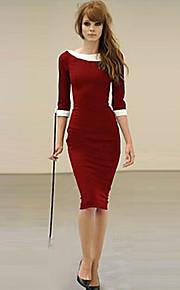 De las mujeres Vaina Vestido Tallas Grandes / Sexy / Fiesta / Para Trabajo / Casual Un Color Midi / Hasta la Rodilla Cuello BarcoAlgodón