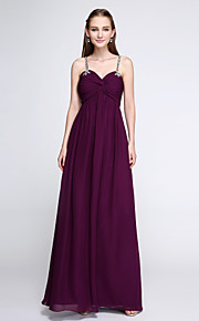 Lanting Bride Floor-length Chiffon Bridesmaid Dress - Elegant Sheath / Column Spaghetti Straps with Beading
