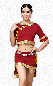 Belly Dance Outfits Women's Training Chinese Style Modal Buttons / Pattern/Print / Pleated 2 Pieces