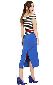 Women's Blue/Black/Green Skirts , Vintage/Casual/Work Midi