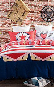 Red 800TC bedding sets Queen King size Bedlinen printing sheets pillowcases Duvet cover sanding Cotton Fabric