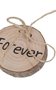 Charminer Forever Rustic Shabby Chic Wedding Wooden Ring Bearer Pillow with Jute Rope