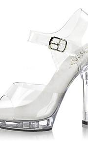 Chaussures Femme-Mariage / Décontracté / Soirée & Evénement-Noir / Transparent-Talon Aiguille-Talons / Sandales-Chaussures à Talons-PVC