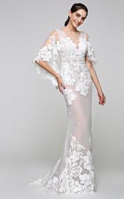 Lanting Bride® Trumpet / sjöjungfru Brudklänning - Glamorös och dramatisk Genomskinliga Svepsläp Båt Tyll Med Applikationsbroderi