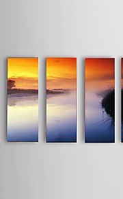 Ready To Hang Hand-painted Abstract Riverside morning scenery Oil Painting Restaurant 5 Piece/Set Wall Art Decor