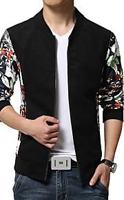 남성의 자켓 패치 워크 긴 소매 캐쥬얼 / 플러스 사이즈 면 / 폴리에스테르,그린 / 레드 / 화이트 / 옐로