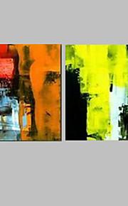 Dipinta a mano Astratto Dipinti ad olio,Modern / Mediterraneo Due Pannelli Tela Hang-Dipinto ad olio For Decorazioni per la casa