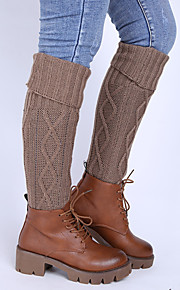 Women's Winter Knitting Flanging diamond Wool Leg Warmers