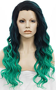 IMSTYLE 24New Arrival Green Ombre Synthetic Lace Front Wig Natural Black Root