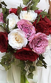 Wedding Flowers Round Roses Bouquets Wedding / Party/ Evening Satin 11.8(Approx.30cm)