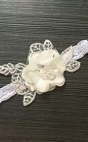 Garter Stretch Satin / Lace Flower White