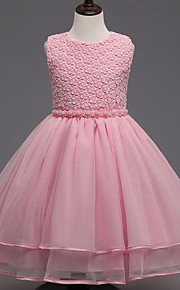 Prinzessin Knie-Länge Blumenmädchenkleid - Baumwolle Spitze Polyester Ohne Ärmel Schmuck mit Spitze Perlen Verzierung