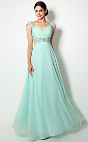 Floor-length Chiffon Bridesmaid Dress - Mini Me  Sheath / Column Straps with Crystal Detailing / Sequins / Side Draping