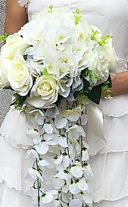 Wedding Flowers Cascade Roses Bouquets Wedding / Party/ Evening Satin 11.02(Approx.28cm)