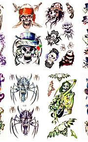 16 Designs Waterproof Temporary Tattoos Sticker Animal for Hallowmas Halloween Body Art 24cm*9.5cm (Assorted Pattern)