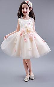 Trapèze Mi-long Robe de Demoiselle d'Honneur Fille - Coton / Satin / Tulle Sans Manches Bijoux avec Détail Cristal / Fleur(s)