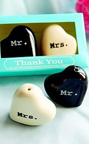 Mr. & Mrs. Ceramic Salt & Pepper Shakers in Tiffany Blue Giftbox