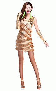 Latin Dance Dresses Women's Performance Chinlon V Neck Tassel(s) 3 Pieces Outfit Including Gloves Gold