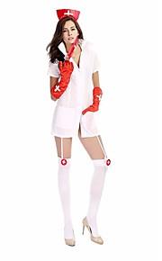 Andre Cosplay Kostumer Hvit Film Cosplay Kostumer Solid Kjole / Hodeplagg Polyester Kvinnelig
