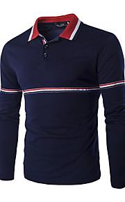Bomull Fritid / Kontor / Sport T-shirt Herr Randig Lång ärm-Blå / Vit